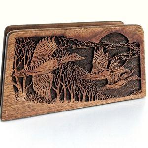 Vtg laser engraved wooden napkin or letter holder
